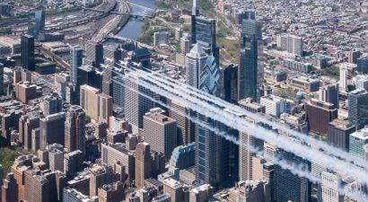 The Thunderbirds over center city Philadelphia