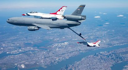 The Thunderbirds refuel with NYC far below