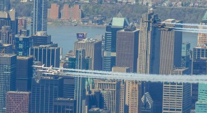 The Thunderbirds and Blue Angels over Times Square